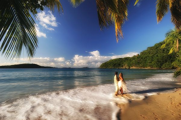romantic tropical beach wedding st john